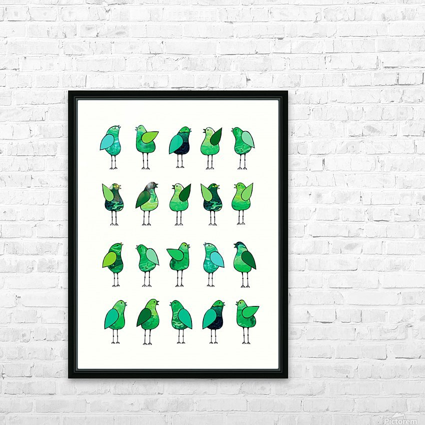 Gossip Birds Green HD Sublimation Metal print with Decorating Float Frame (BOX)
