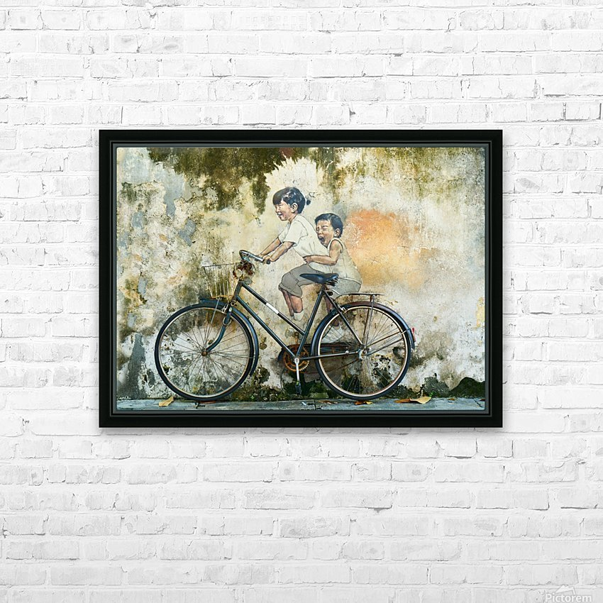Kid And His Sister On A  Bicycle  Painting   HD Sublimation Metal print with Decorating Float Frame (BOX)