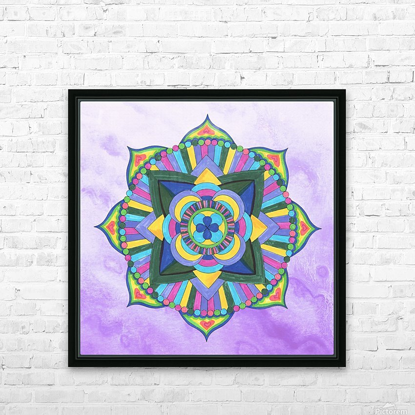 Hand Painted Mandala Watercolor Meditation on Purple HD Sublimation Metal print with Decorating Float Frame (BOX)