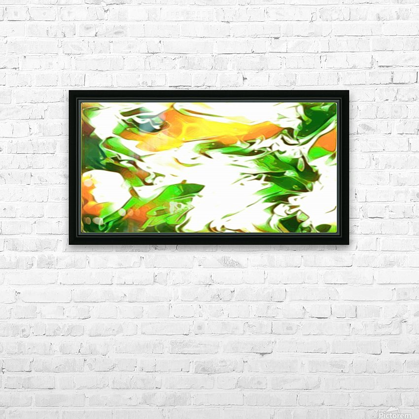 Legendary - green gold and white abstract swirls wall art HD Sublimation Metal print with Decorating Float Frame (BOX)