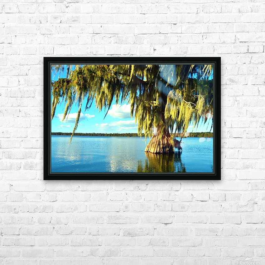 Blue Sky Green Leaves HD Sublimation Metal print with Decorating Float Frame (BOX)