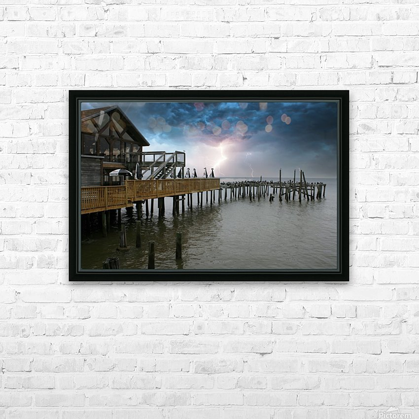 Lightning over Pier HD Sublimation Metal print with Decorating Float Frame (BOX)