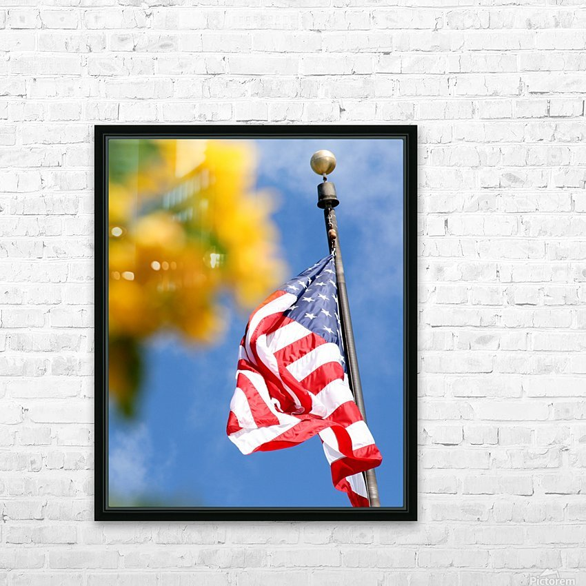 United States Flag HD Sublimation Metal print with Decorating Float Frame (BOX)
