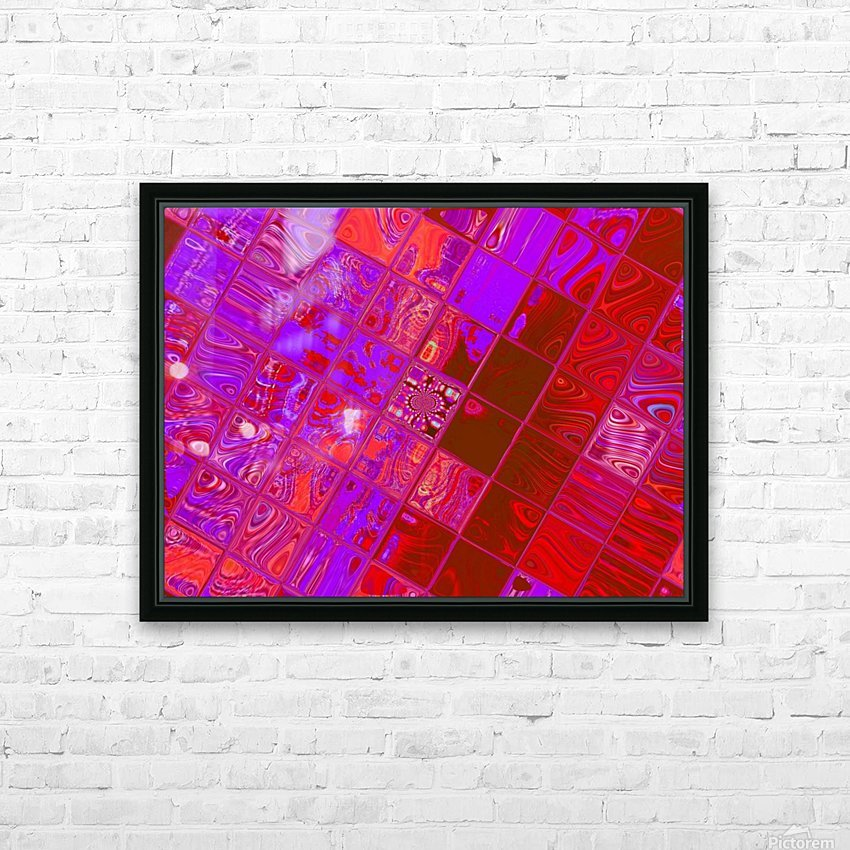 Red Psychedelic Squares 1 HD Sublimation Metal print with Decorating Float Frame (BOX)