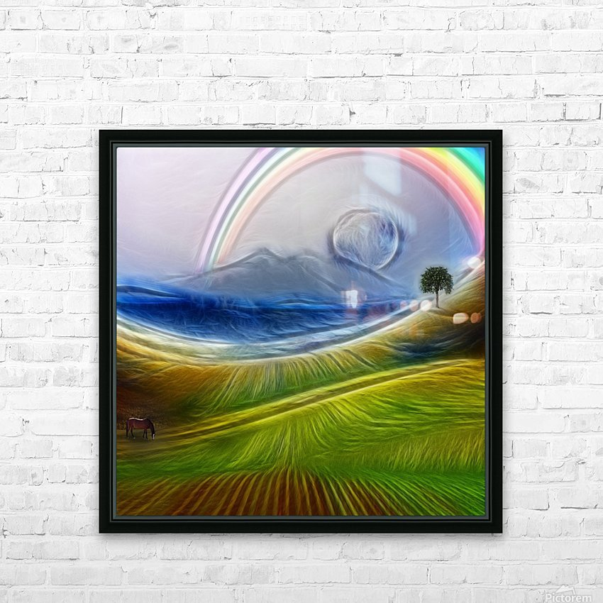 Painterly Peaceful Landscape HD Sublimation Metal print with Decorating Float Frame (BOX)
