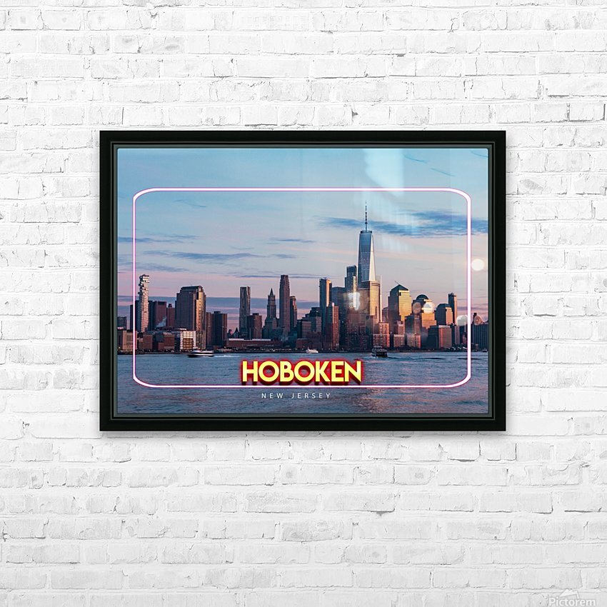 Hoboken   New Jersey HD Sublimation Metal print with Decorating Float Frame (BOX)