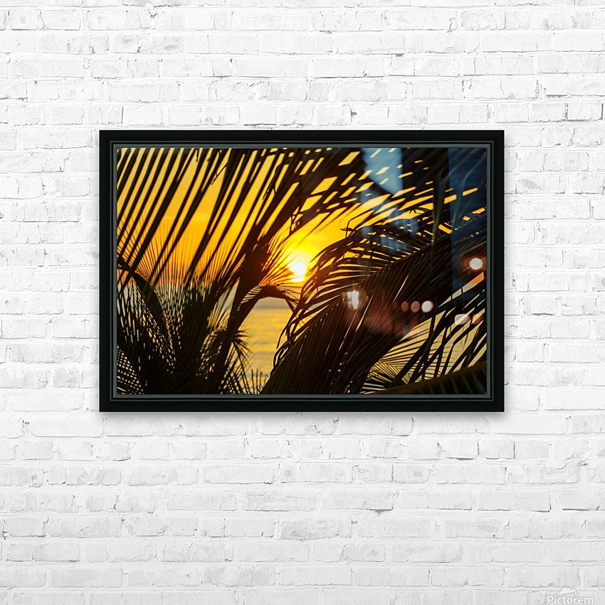 Sunrise through the palms HD Sublimation Metal print with Decorating Float Frame (BOX)