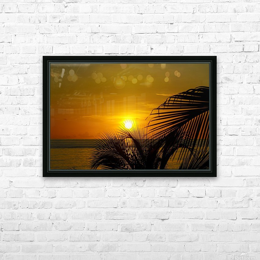 Sunrise at the palm tips HD Sublimation Metal print with Decorating Float Frame (BOX)