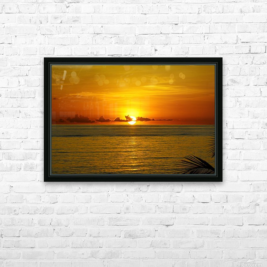 Sun rising on the ocean HD Sublimation Metal print with Decorating Float Frame (BOX)