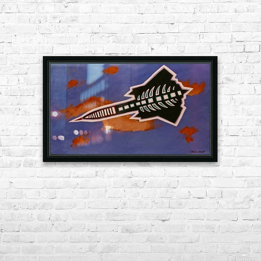 Rocket Ship HD Sublimation Metal print with Decorating Float Frame (BOX)