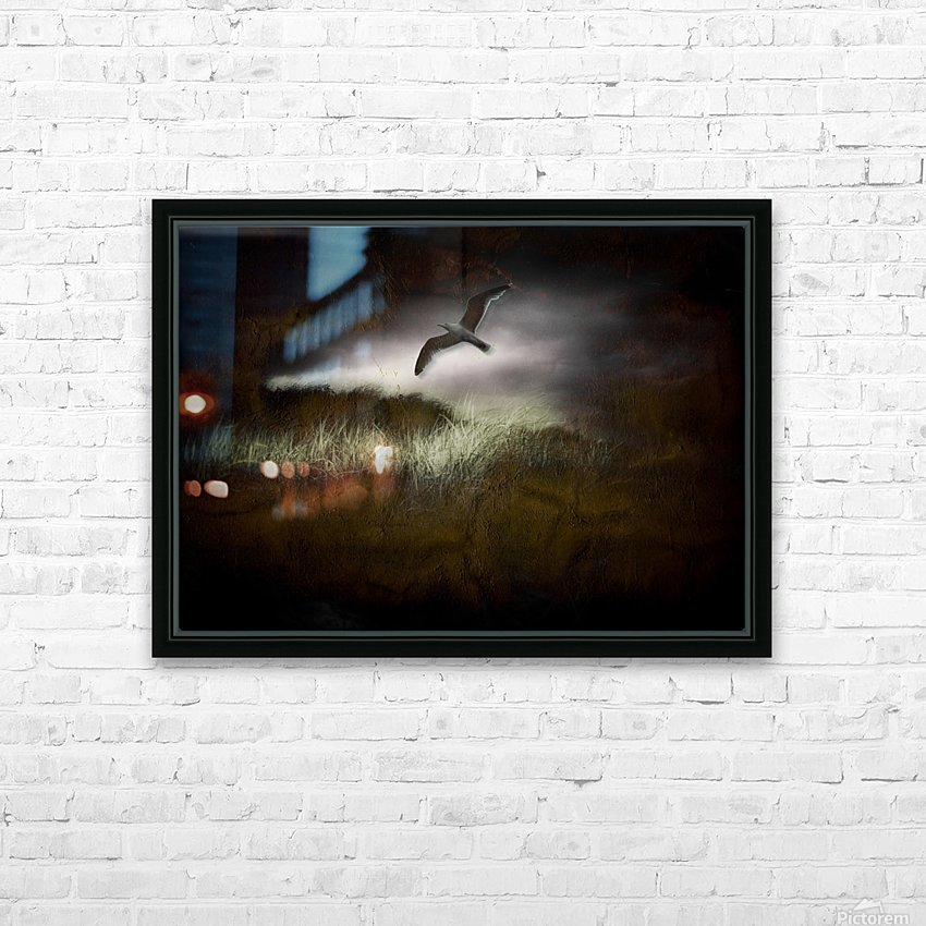 Seagull in Dark Landscape HD Sublimation Metal print with Decorating Float Frame (BOX)