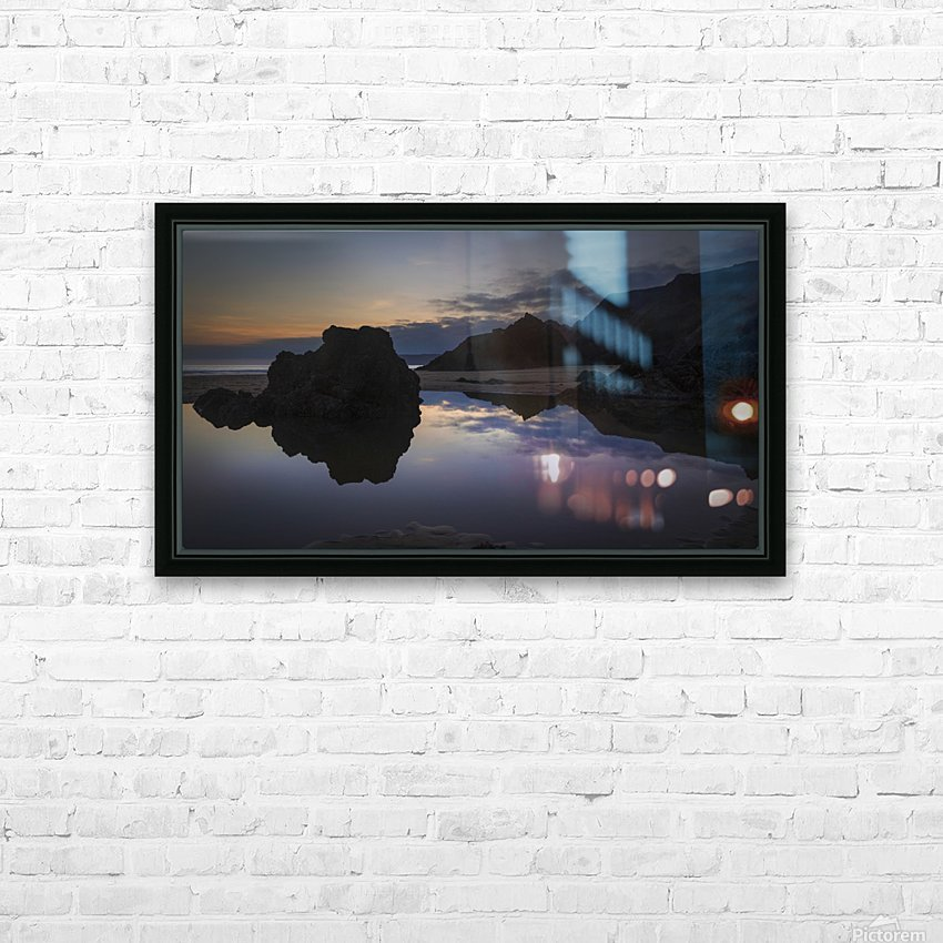 Rockpool reflections at sunset HD Sublimation Metal print with Decorating Float Frame (BOX)