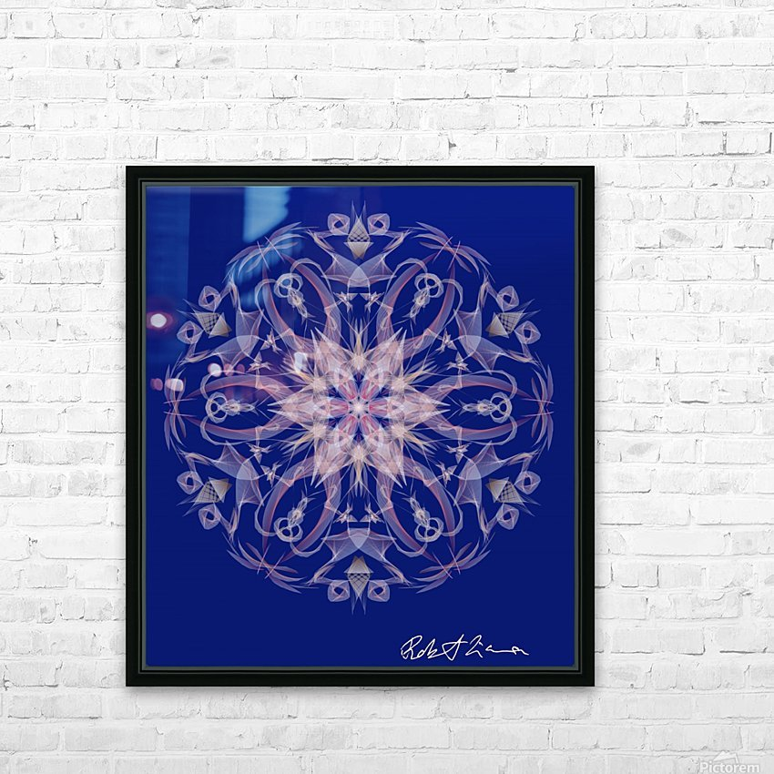 Limited Edition - Blue Graphic Art Healing Mandala 1005 HD Sublimation Metal print with Decorating Float Frame (BOX)