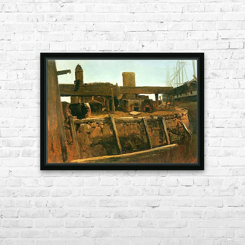 Boat at the dock by Bierstadt HD Sublimation Metal print with Decorating Float Frame (BOX)