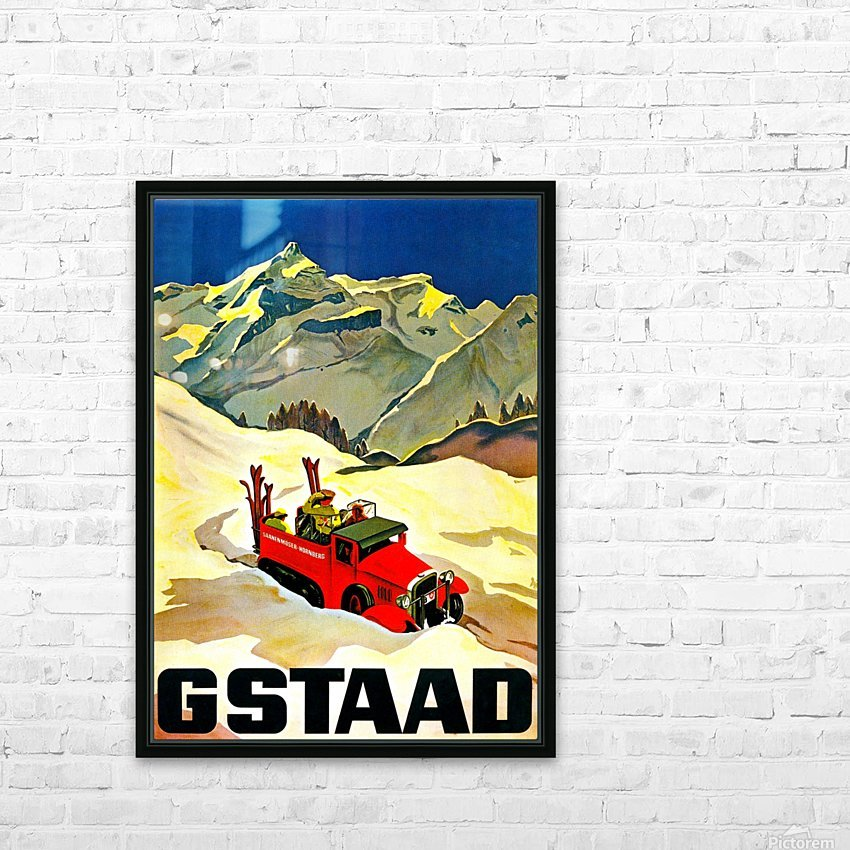 Vintage Travel - Gstaad HD Sublimation Metal print with Decorating Float Frame (BOX)
