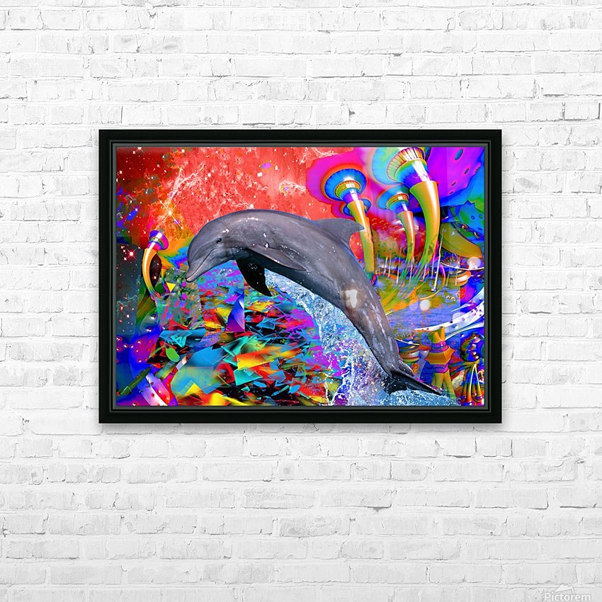 Dolphin Color Splash HD Sublimation Metal print with Decorating Float Frame (BOX)