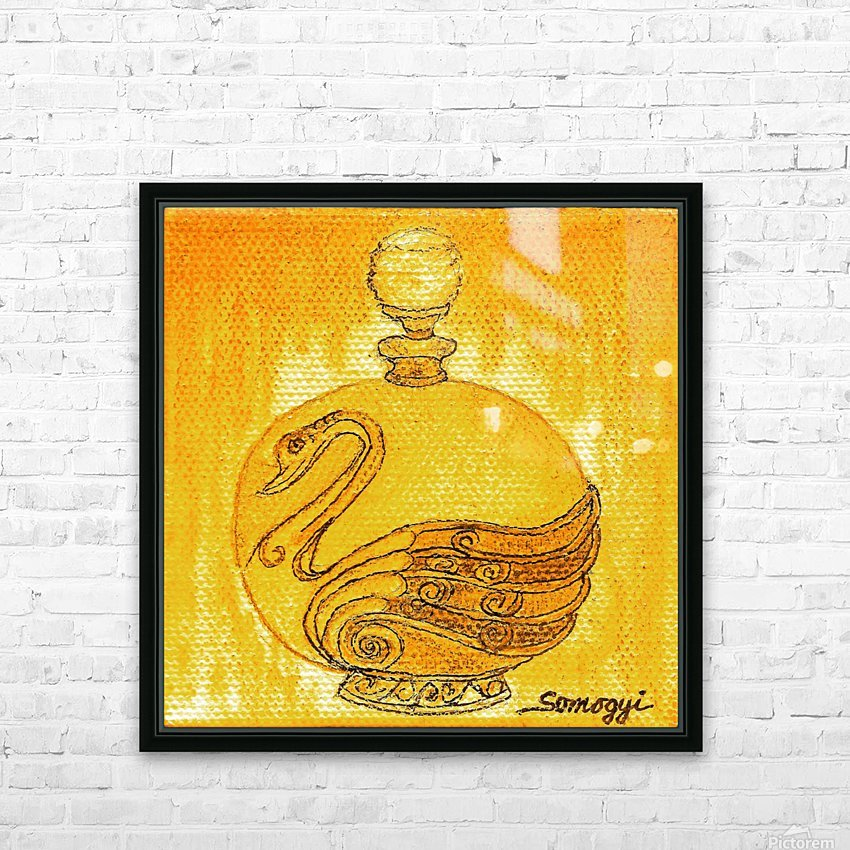 Bottled Gold Swan HD Sublimation Metal print with Decorating Float Frame (BOX)