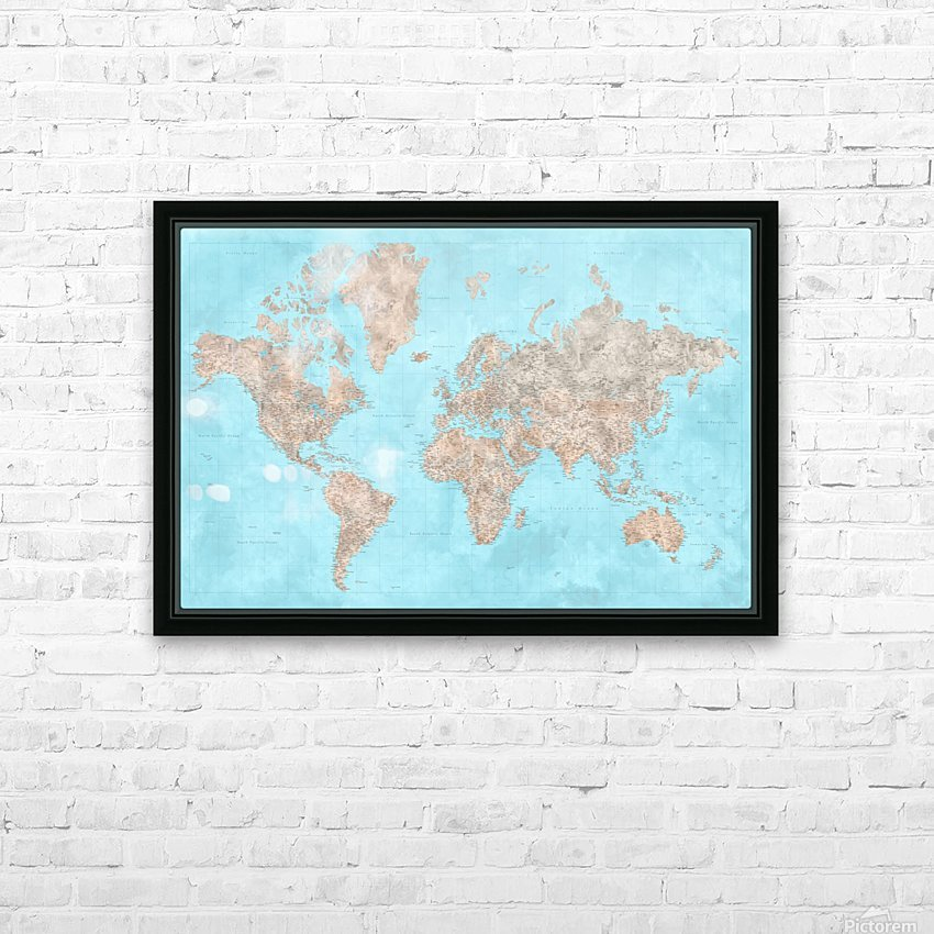 highly detailed watercolor world map in neutrals and light blue HD Sublimation Metal print with Decorating Float Frame (BOX)