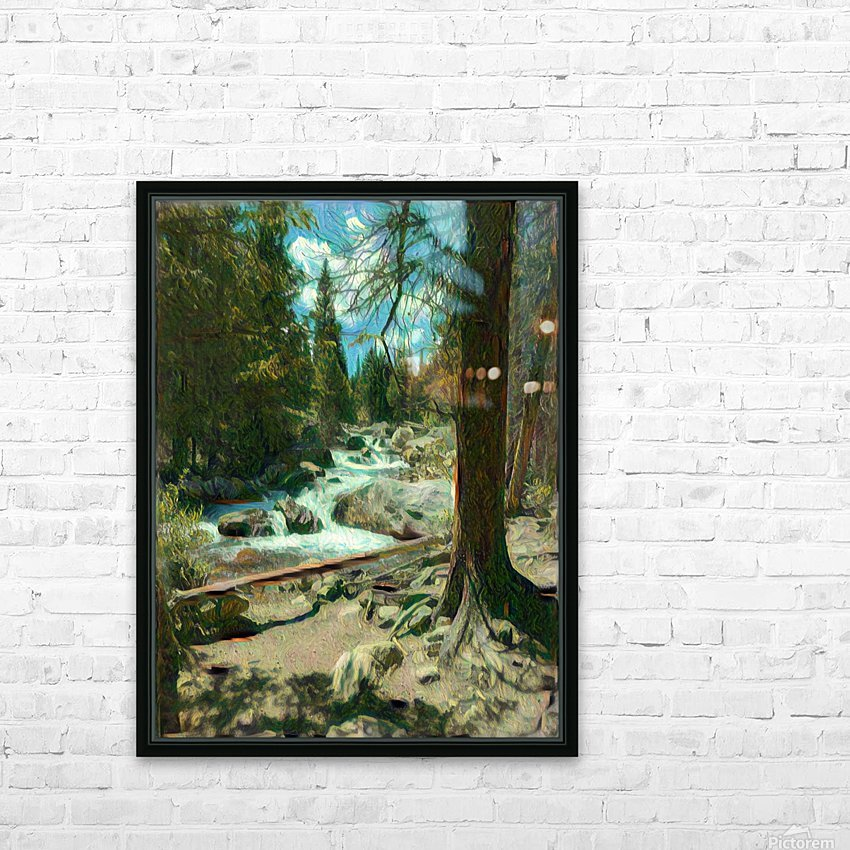 Rocky Mountain waterfall HD Sublimation Metal print with Decorating Float Frame (BOX)