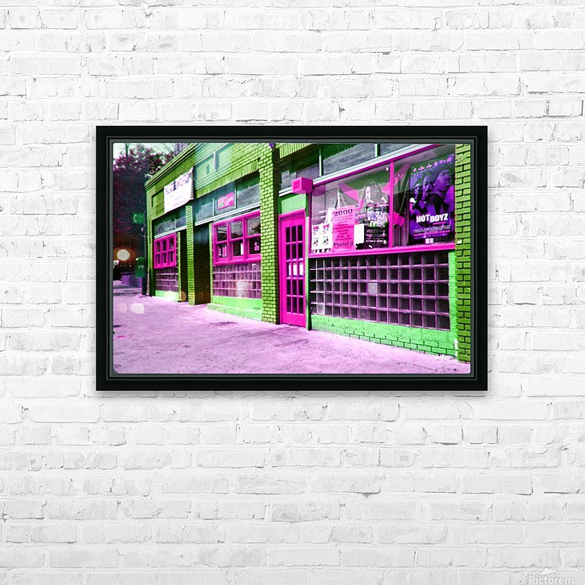 Atlanta Street Scene -- Fuchsia & Lime HD Sublimation Metal print with Decorating Float Frame (BOX)