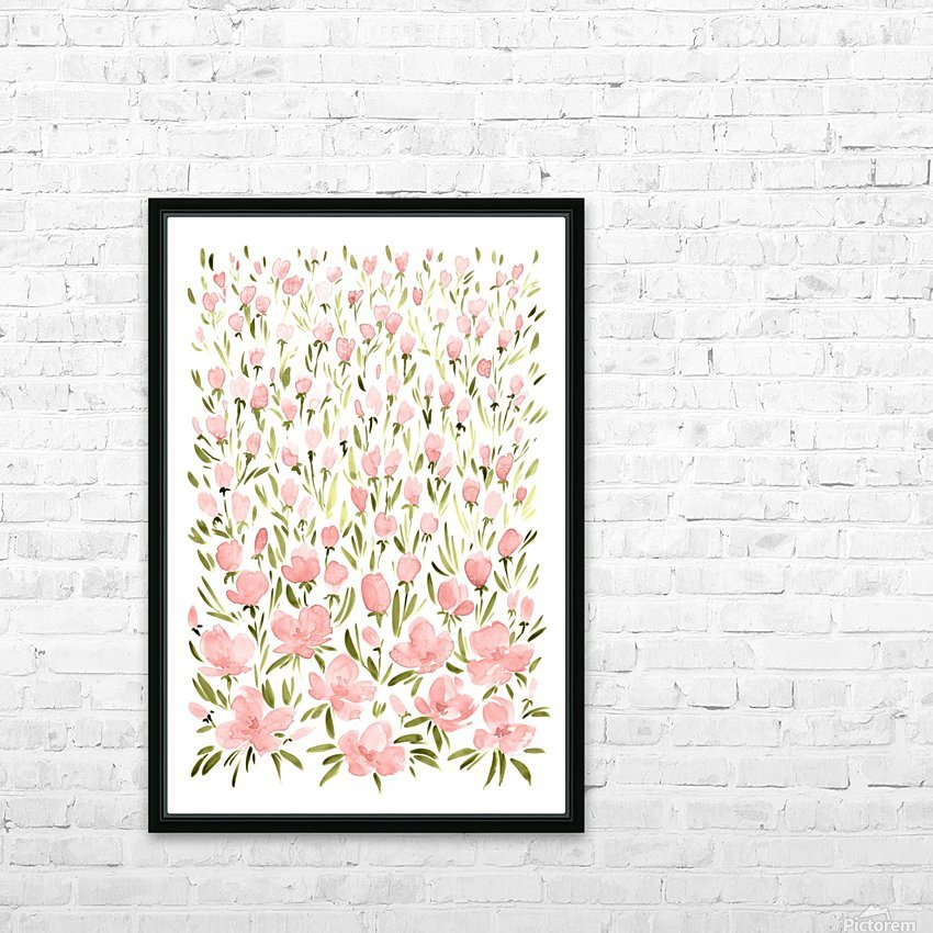 Field of pink watercolor flowers by blursbyai HD Sublimation Metal print with Decorating Float Frame (BOX)