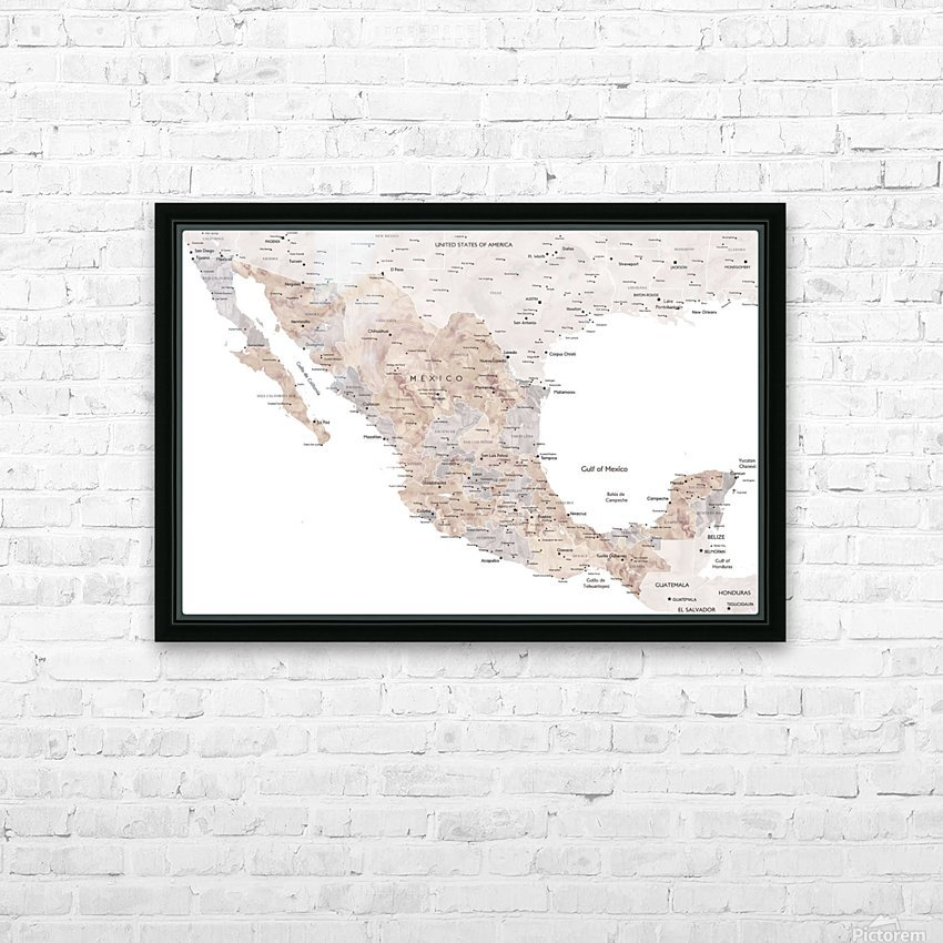 Detailed map of Mexico in neutral watercolor HD Sublimation Metal print with Decorating Float Frame (BOX)