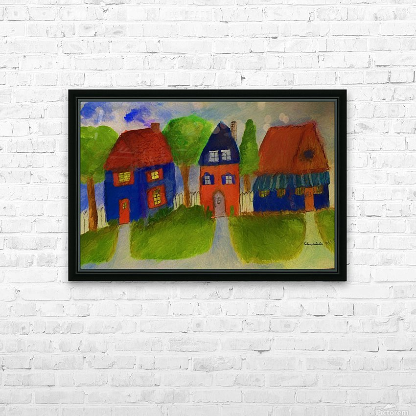 Whimsical Houses HD Sublimation Metal print with Decorating Float Frame (BOX)