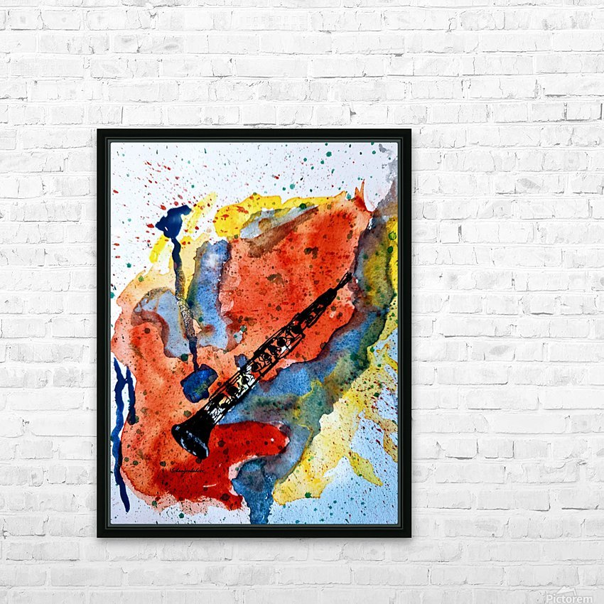 Clarinet watercolor HD Sublimation Metal print with Decorating Float Frame (BOX)