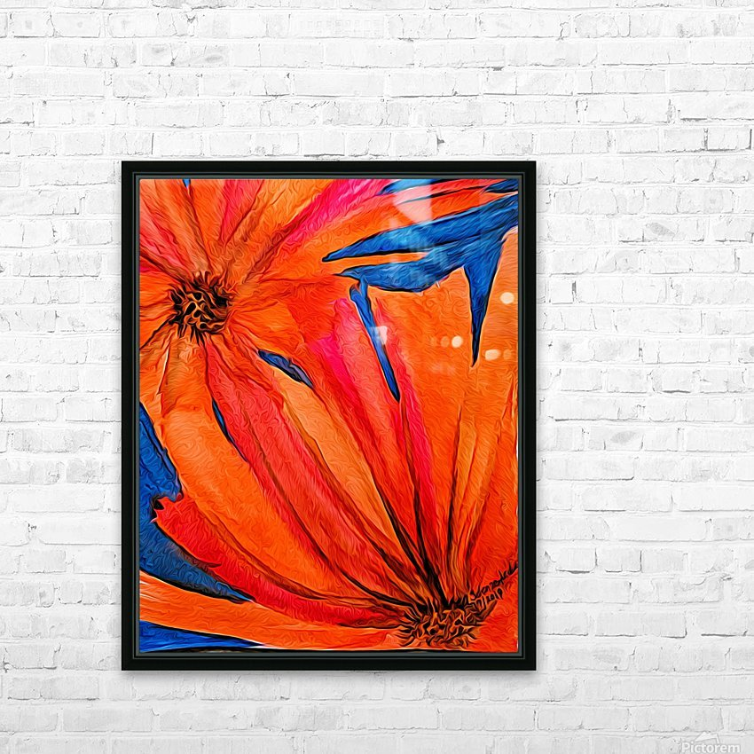 Orange Flowers  HD Sublimation Metal print with Decorating Float Frame (BOX)