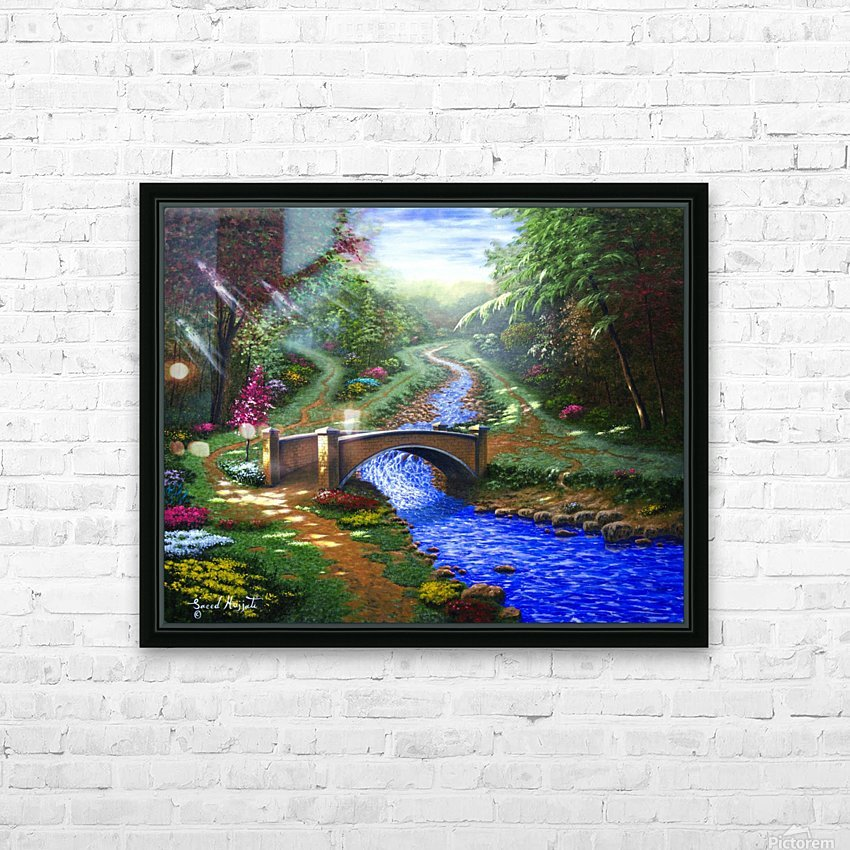 Forest Stream HD Sublimation Metal print with Decorating Float Frame (BOX)