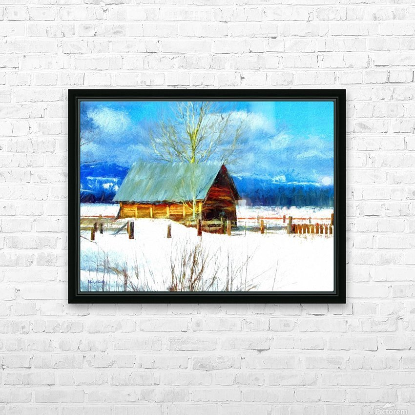 Winter Homestead Watercolor  HD Sublimation Metal print with Decorating Float Frame (BOX)
