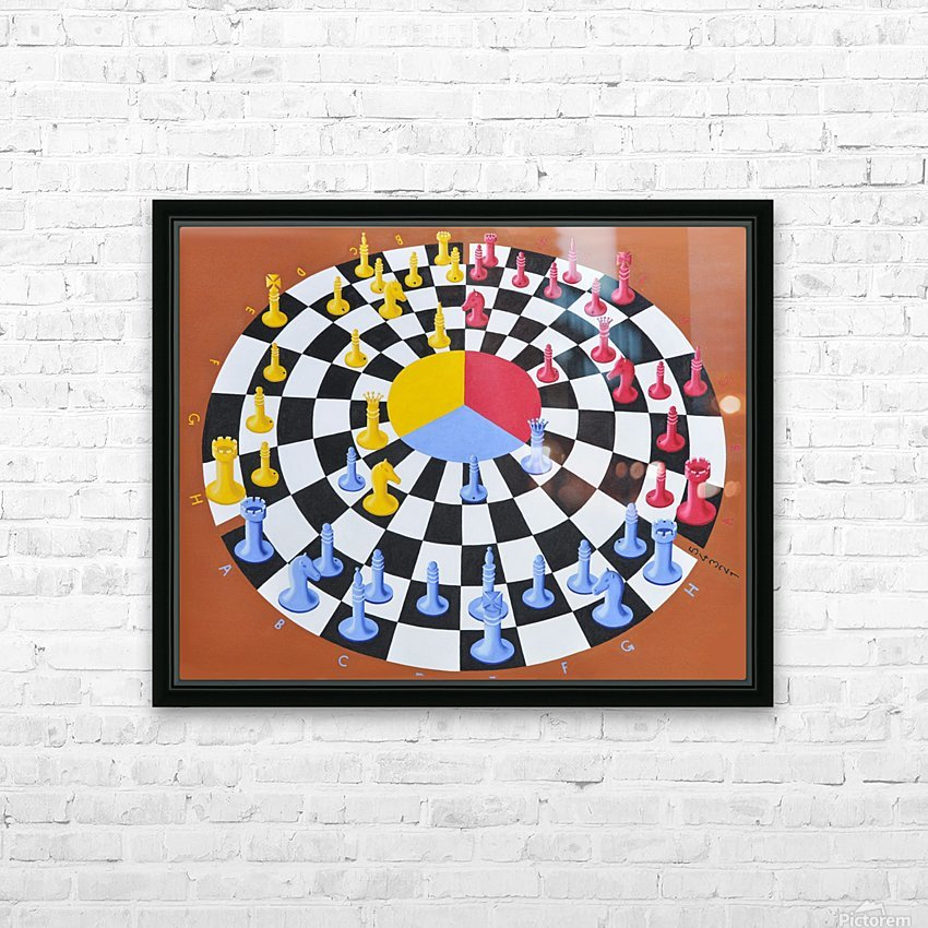 Chess-3-bounce HD Sublimation Metal print with Decorating Float Frame (BOX)