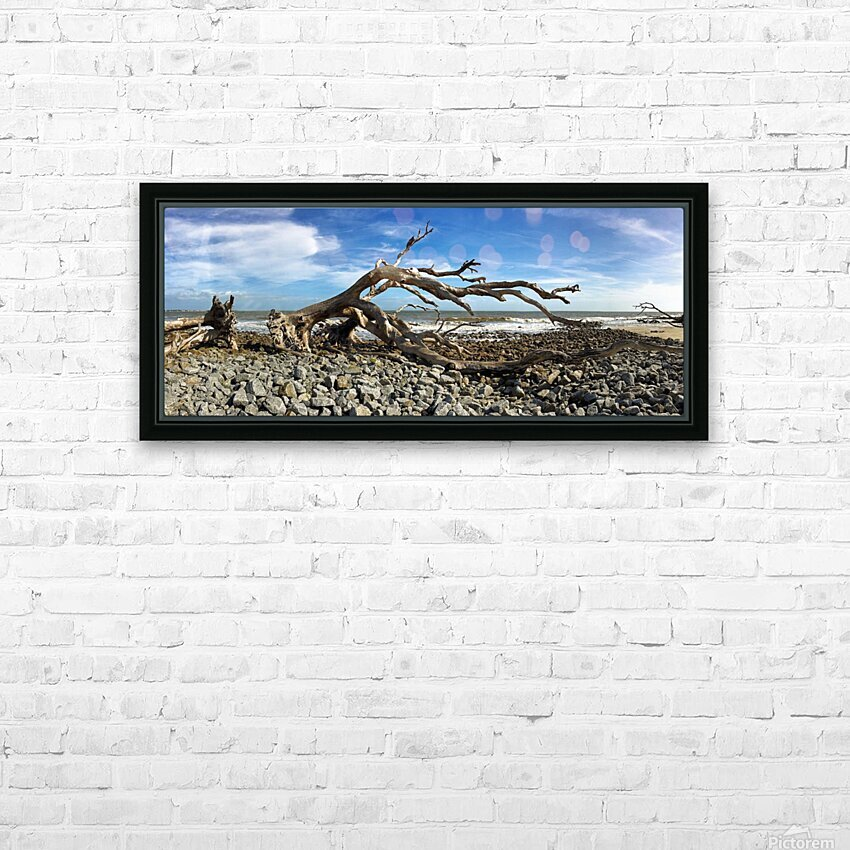 Driftwood Beach Panorama 101 HD Sublimation Metal print with Decorating Float Frame (BOX)