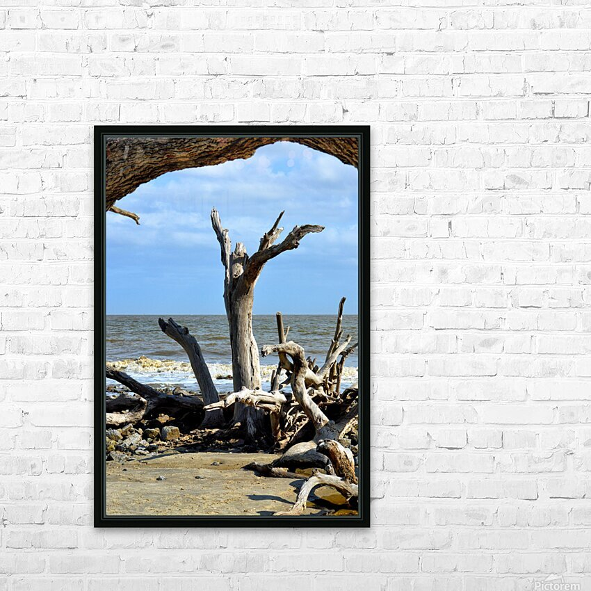Driftwood Beach Uplifting HD Sublimation Metal print with Decorating Float Frame (BOX)