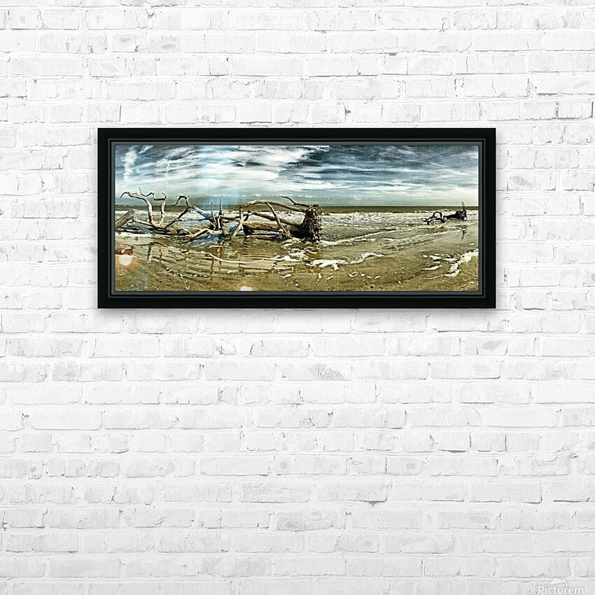 Driftwood Beach Panorama 103 Blackgold HD Sublimation Metal print with Decorating Float Frame (BOX)
