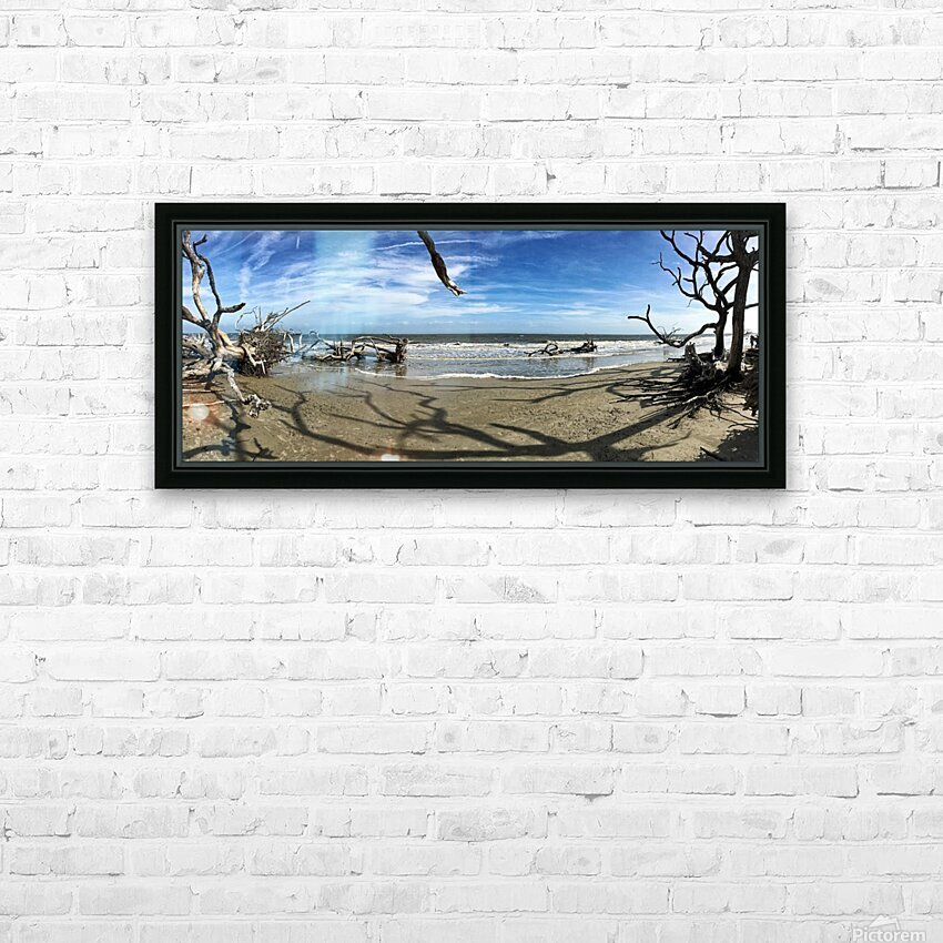 Driftwood Beach Panorama Shadows HD Sublimation Metal print with Decorating Float Frame (BOX)