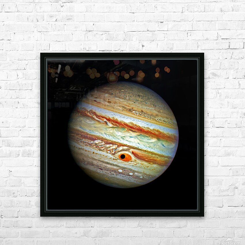 Jupiter with Ganymede Outer Space Image HD Sublimation Metal print with Decorating Float Frame (BOX)