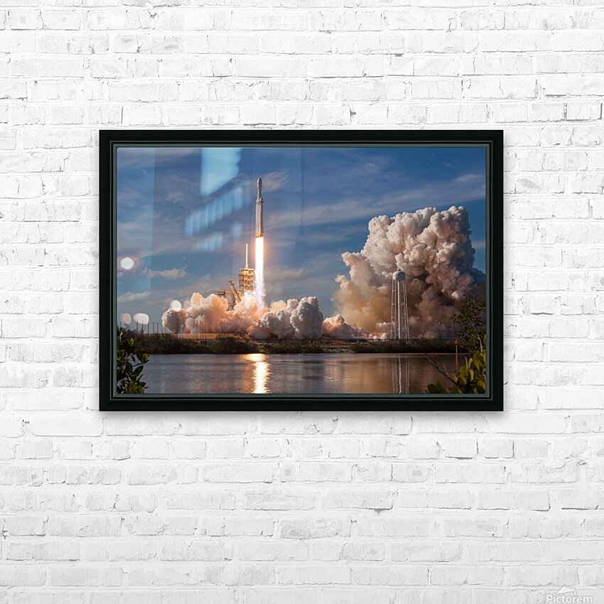 Falcon Heavy Demo Mission 020118 HD Sublimation Metal print with Decorating Float Frame (BOX)