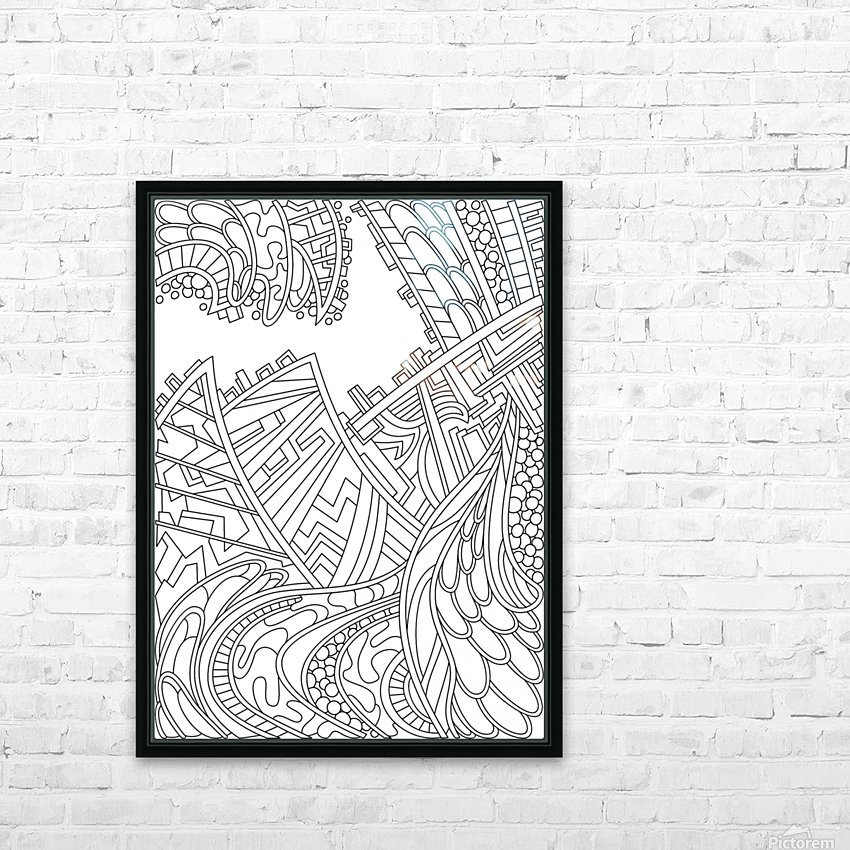 Wandering Abstract Line Art 01: Black & White HD Sublimation Metal print with Decorating Float Frame (BOX)