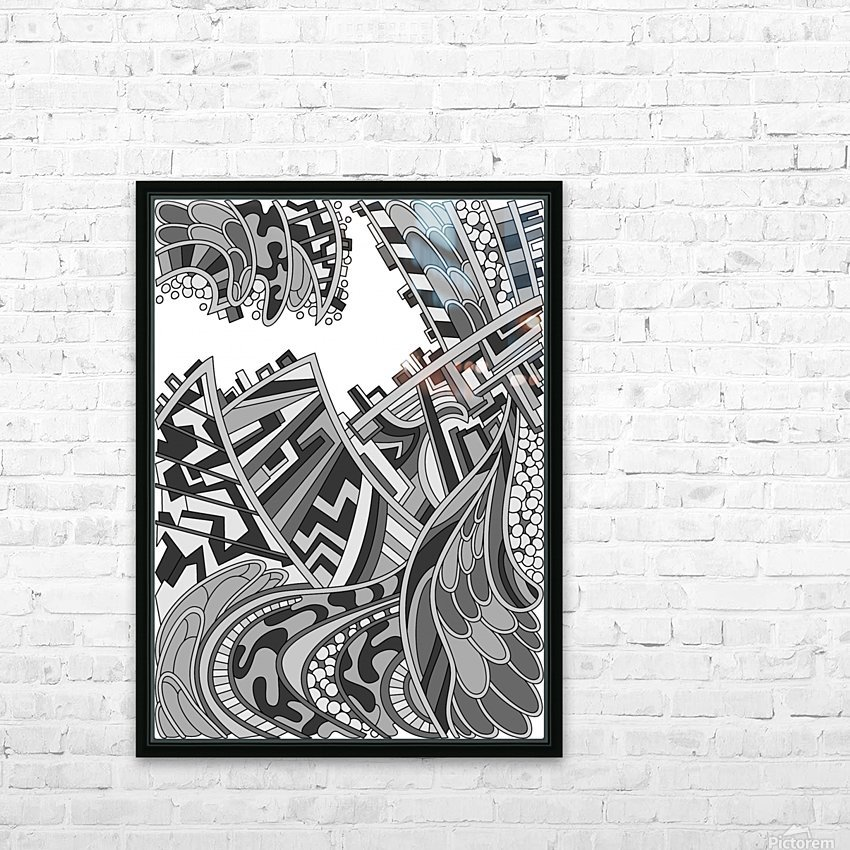 Wandering Abstract Line Art 01: Grayscale HD Sublimation Metal print with Decorating Float Frame (BOX)