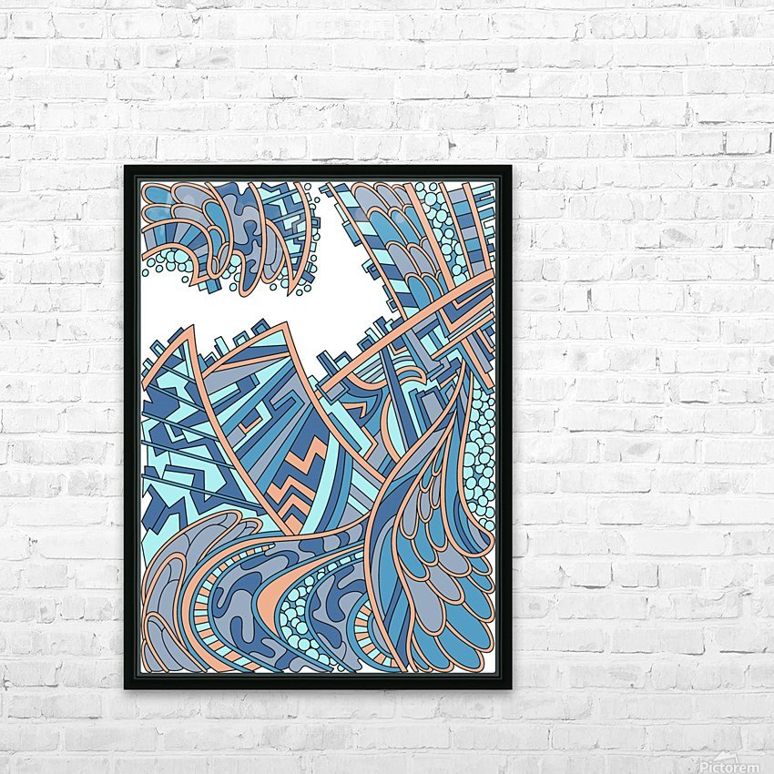 Wandering Abstract Line Art 01: Blue HD Sublimation Metal print with Decorating Float Frame (BOX)