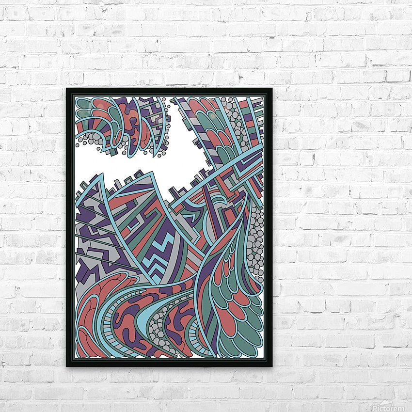 Wandering Abstract Line Art 01: Red HD Sublimation Metal print with Decorating Float Frame (BOX)