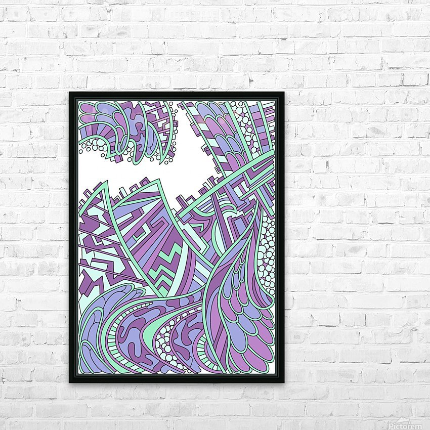 Wandering Abstract Line Art 01: Purple HD Sublimation Metal print with Decorating Float Frame (BOX)