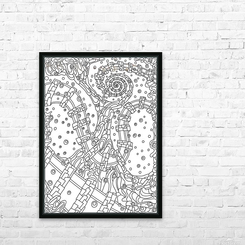 Wandering Abstract Line Art 02: Black & White HD Sublimation Metal print with Decorating Float Frame (BOX)
