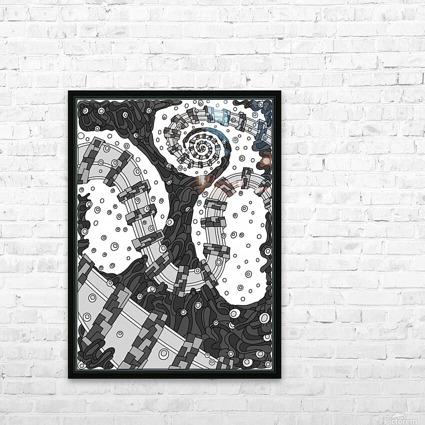 Wandering Abstract Line Art 02: Grayscale HD Sublimation Metal print with Decorating Float Frame (BOX)