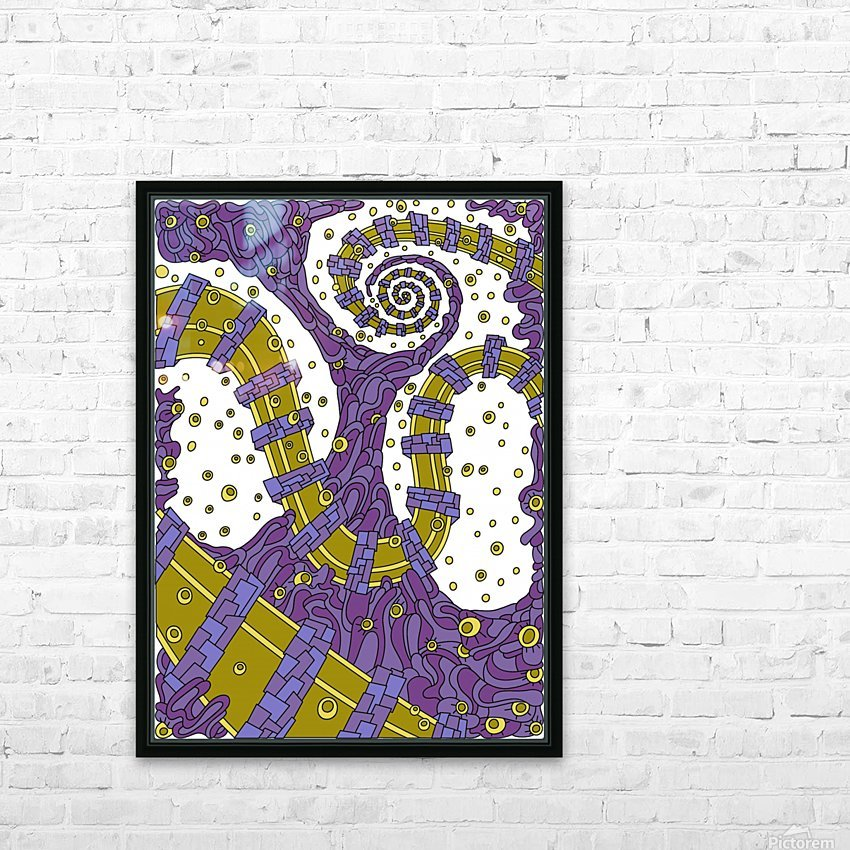 Wandering Abstract Line Art 02: Purple HD Sublimation Metal print with Decorating Float Frame (BOX)