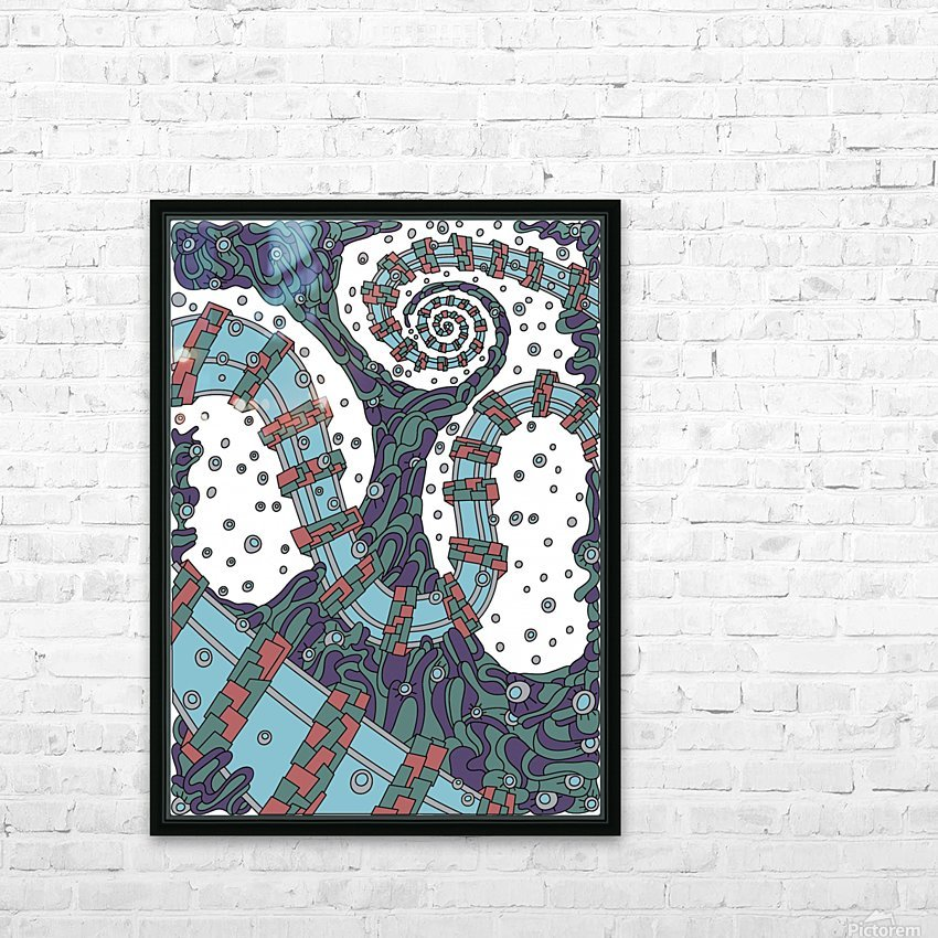 Wandering Abstract Line Art 02: Blue HD Sublimation Metal print with Decorating Float Frame (BOX)