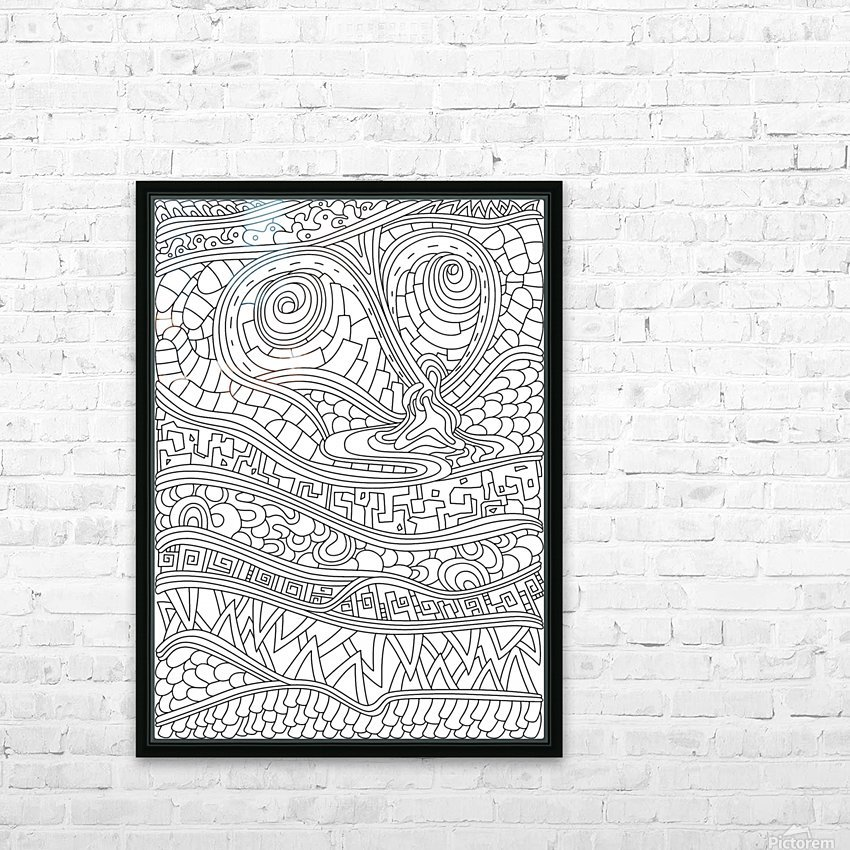 Wandering Abstract Line Art 03: Black & White HD Sublimation Metal print with Decorating Float Frame (BOX)