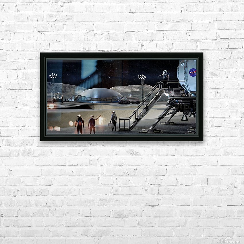 Moon Base 2 HD Sublimation Metal print with Decorating Float Frame (BOX)