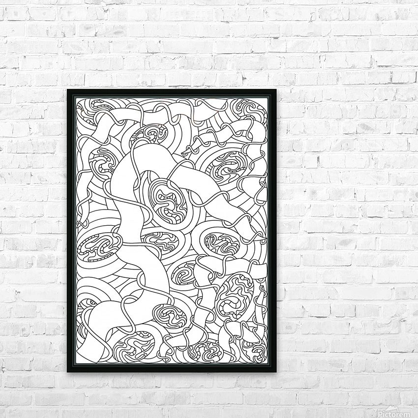 Wandering Abstract Line Art 04: Black & White HD Sublimation Metal print with Decorating Float Frame (BOX)